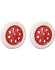 tooloflife 2 ruedas rojas con diseño de ruedas de plástico con núcleo de espuma para carrito de la compra, ruedas para viaje, equipaje, ruedas