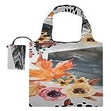 Bolsas de comestibles Reutilizables a granel Hoja de arce asiática Red Autumn Maple Shopping Tote Bag Bolsas de comestibles Reutilizables Bulk Polyester Bolsas de compras reutilizables, lavables, dur