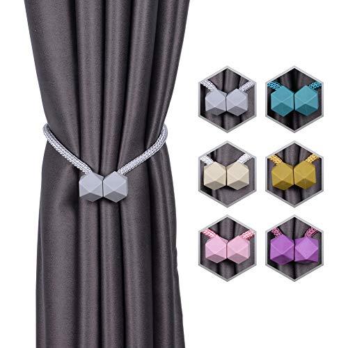 INHDBOX Magnetische Vorhang Raffhalter Kreativ Vorhang Clips Seil Rückwärtige Vorhang Halter Schnallen Vorhang Binder Gardinenhalter für Haus Dekoration 2 Stück (Grau)