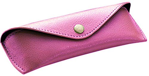 Alassio Funda de Piel auténtica para Gafas, tamaño Grande, Aprox. 16 x 7 x 4 cm, Organizador de Bolsillo, 16 cm, Color Rosa