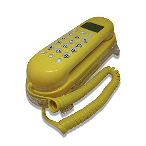 DIHAO Teléfono Retro teléfono Fijo de Pared para baño, Hotel Familiar, teléfono Fijo, indicador de Timbre Fijo, luz LED, Amarillo
