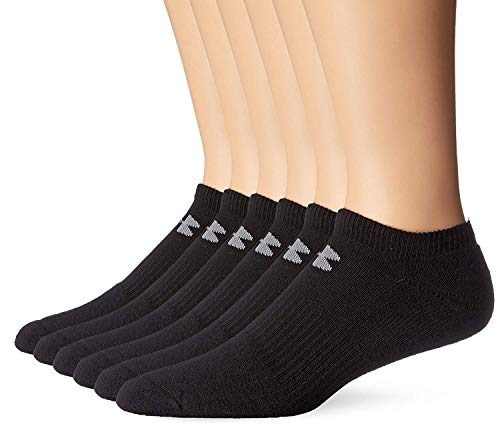 Under Armour Mens Charged Cotton 2.0 No Show Socks- (2 Pack (12 Pair) Large, Black)