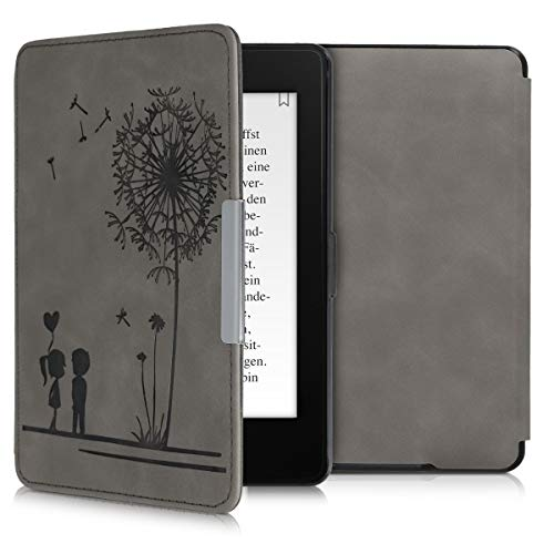 kwmobile Schutzhülle kompatibel mit Amazon Kindle Paperwhite - Hülle Kunstleder eReader (für Modelle bis 2017) - Pusteblume Love Grau