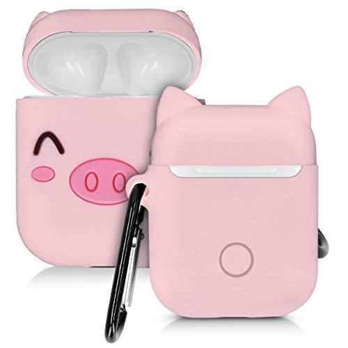 kwmobile Hülle kompatibel mit Apple AirPods Kopfhörer - Silikon Schutzhülle Case Cover Schweinchen Weiß Schwarz Rosa