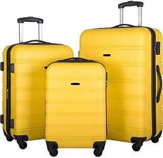 Luggage Set Expandable 3 Piece Sets with TSA Lock, Lightweight Hardside Luggage with Spinner Wheels (yeliow)