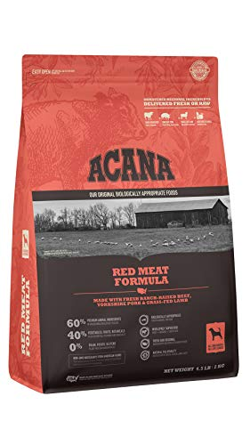 ACANA Dog Red Meat Recipe, 4.5lb, Premium High-Protein, Grain-Free Dry Dog Food