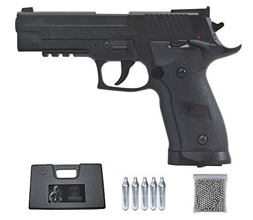 Borner Z122 | Pack Pistola de balines (perdigones Bolas de Acero BB's). Arma de Aire comprimido CO2 Calibre 4,5mm <3,5J