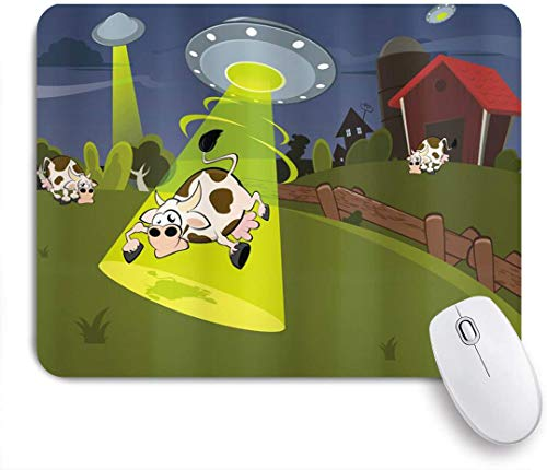 CIKYOWAY Mouse Pad,Cartoon Farm Warehouse Grass Fences Cow Alien Abduction Funny Comics Image Artwork,Customized Mousepad Non-Slip Rubber Gaming Mouse Pad Rectangle Mouse Pads for Computers Laptop