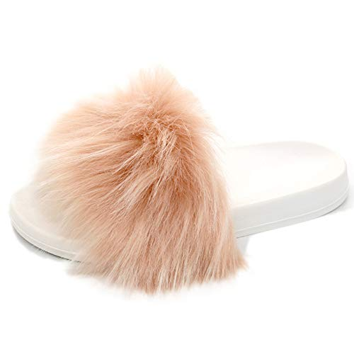 Women Fur Slippers Faux Fox Fur Slipper Fluffy Woman Raccoon Fur Slides Winter Warm Home Slipper-Pink Fur-White sole-10