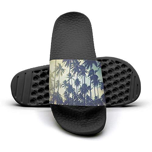 Sansalsk2 Women's Best Slipper Palm Trees Wallpaper Tumblr Black Memory Foam Open Toe Flat Shower Slides Shoes