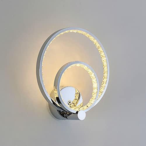 Lámpara Pared Interior 24 W, Aplique LED Pared Cristal 2 Anillos de...
