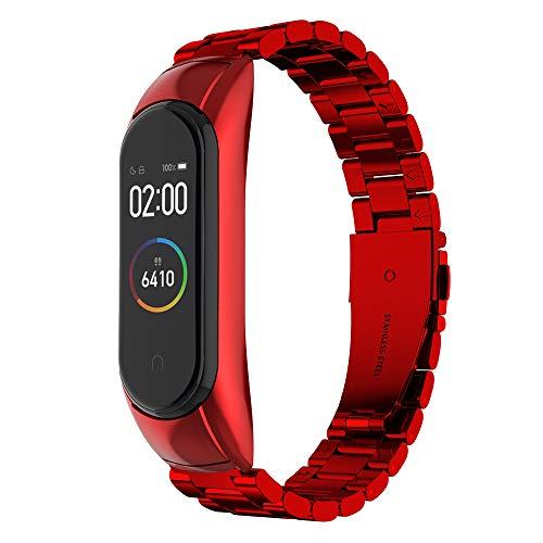 Simpeak Correa Compatible con Xiaomi Mi Band 4 (5.5-8.1 Pulgadas), Pulseras de Acero Inoxidable Wristband Repuesto Bandas Compatible con Xiaomi Mi Band 4 Fitness - Rojo