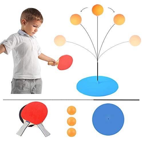 BHGWR Tischtennis Trainer, Tischtennisschläger Set mit Elastischem Soft Shaft Dekompressions Sport, 2 Tischtennis Paddel & 3 Ping Pong Ball Sportausrüstung für Erwachsene und Indoor Outdoor Spielen