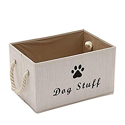 Pethiy Large Fabric Storage Bins Organizer with Cotton Rope Handle, Collapsible Cube Basket Container Box for Dog Apparel & Accessories,Dog Coats,Dog Toys Gift Baskets-Beige