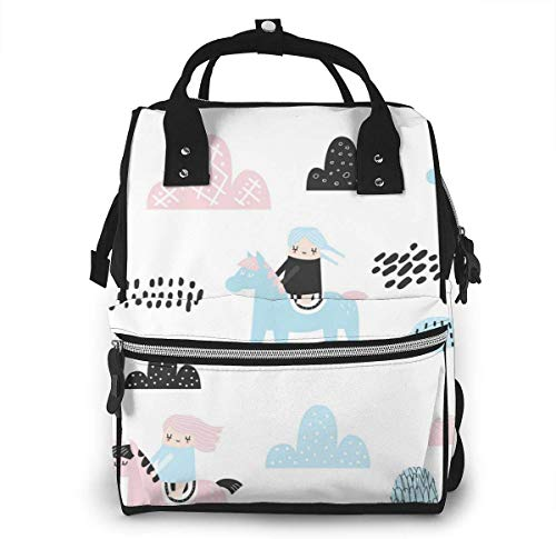 UUwant Sac à Dos à Couches pour Maman Large Capacity Diaper Backpack Travel Manager Baby Care Replacement Bag Nappy Bags Mummy Backpack,(The Little Girl Rode A Horse on The Mountain Path