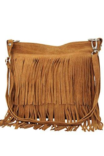 AMBRA Moda Damen Handtasche Ledertasche Umhängetasche Fransentasche Schultertasche Damentasche Wildleder 32 cm x 29 cm x 2 cm WL809 (Cognac)