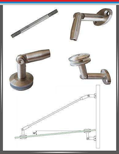 Pmc roestvrij staal V4A glas luifel houder wandhouder glazen dak trekstang, Oval-Länge 1000mm, 100