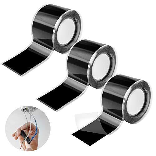 3Pcs Selbstverschweißend Silikonband Silikon Tape Reparaturband Hitzebeständig Isolierband Dichtungsband Elektro(25cm*150cm)