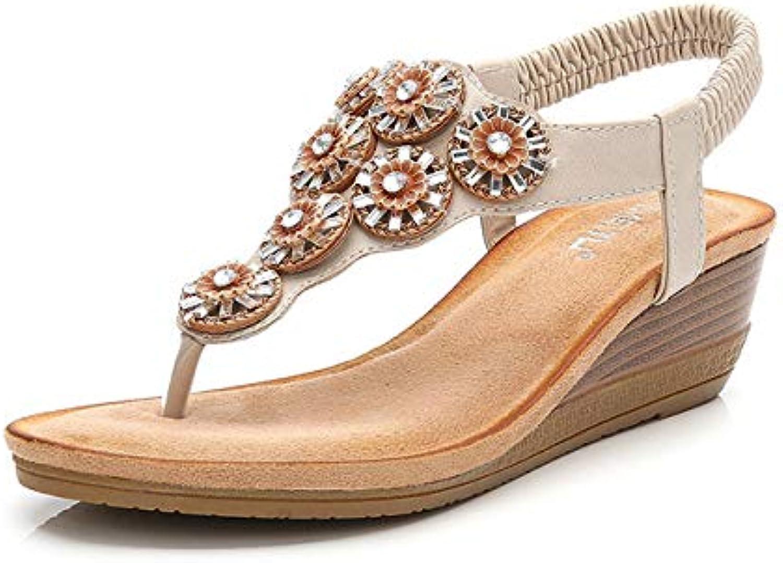 Women's Open Toe Sandals Low Flat Heel Summer Bohemia Rhinestone Flower Bead Folk Sandals Boho Beach Flip Flops Elastic T-Strap Clip On