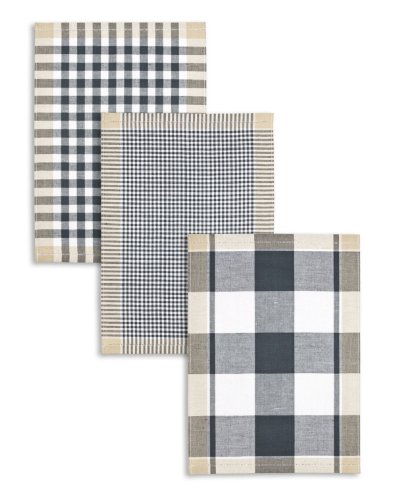 Kracht 3-er Pack Jacquard Geschirrtuch, Halbleinen, Karo sortiert, anthrazit-schwarz-beige, 50x70cm