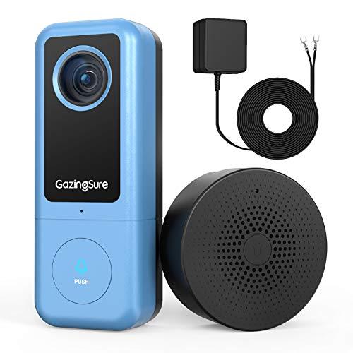 GazingSure Video Türklingel - 2K WLAN Security Türklingel mit Kamera und Chime, Echtzeit-Übertragung, Bewegungserkennung, IP65 Wetterfestigkeit, kompatibel mit Alexa und Google Assistant