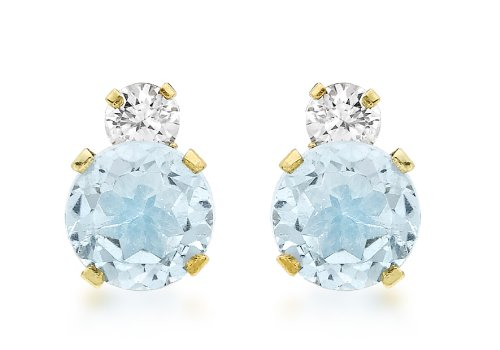 Carissima Gold Women's 9 ct Yellow Gold 6 mm Round Blue Topaz and Cubic Zirconia Stud Earrings