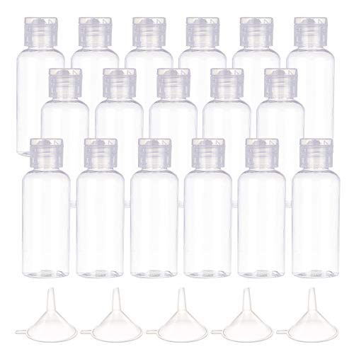 FINGERINSPIRE 24 Pack 50ml(1.7oz) Plastic Flip Top Bottles Empty Squeeze Bottles Clear Travel Refillable Containers with 10 Plastic Funnel Hopper