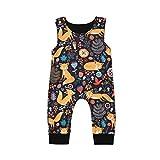 CIPOGL Babykleidung Säuglingsbaby Jungen Mädchen Süß Dinosaurier Drucken Ärmellos Strampler Jumpsuits Sommer Baby Spielanzug Bodys Einteiler Overall Baby Kleidung (Fuchs, 3-6M)