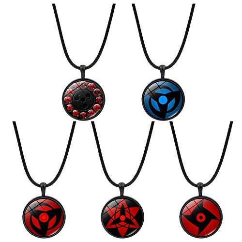Elibeauty - Juego de 5 collares de Naruto de piel, ajustable, ideal como regalo para los fans del anime