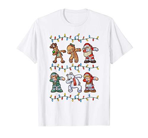 Santa Reno Elfos Oso Regalos de pan de jengibre Navidad Camiseta