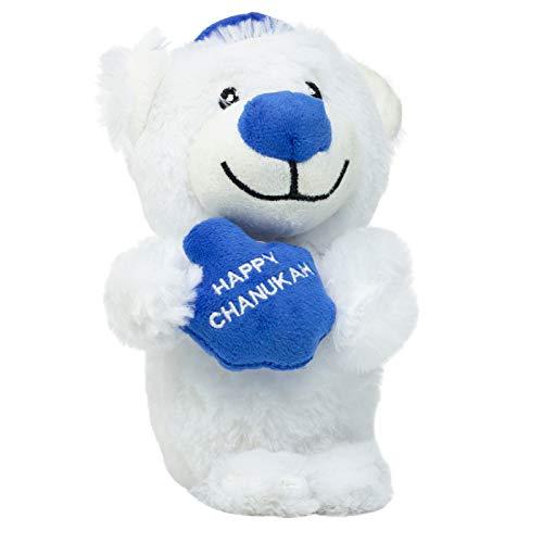Rite Lite CHEWDAICA TM, Chanukah Squeaky Bear Dog Toy, Blue/White Hanukkah