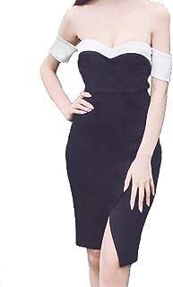 KimBerley オフショルダー スリット バイカラー タイト ミニ ドレス ワンピース セクシー キャバ嬢 二次会 パーティー ファッション 黒 M