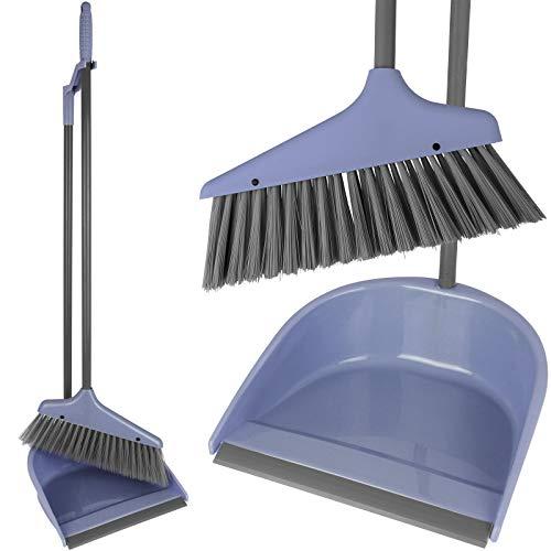 TW24 Kehrgarnitur mit Stiel mit Farbwahl Kehrset Pastell Farben Schaufel Besen Stiel Kehrblech Kehrschaufel Set (Pastell Blau)