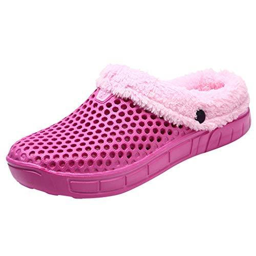 Frauen Hausschuhe Winter Hausschlappen Home Slipper Damen Filzschuhe Warm Pantoffeln Rutschhemmende Innenaufnahme Zimmer Winterhausschuhe Fussböden Schuhe, Pink, 39 EU