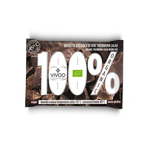 VIVOO RE-EVOLUTION | CIOCCOLATO BIO FONDENTE 100% | Biologico, Raw | Senza Zuccheri aggiunti | No: glutine, Latticini, Soia, OGM | Vegano, Kosher | Ricco di Nutrienti | 1 tavoletta x 30 g cad.