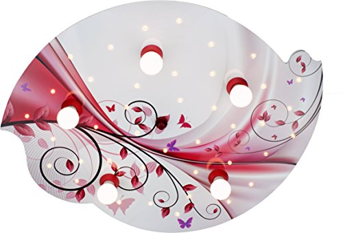 Elobra plafondlamp, hout, E14, 40 W, berry rood, 75 x 50 x 8 cm