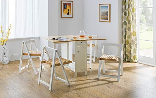 Julian Bowen Savoy Compact Dining Set - White/Natural Lacquered Finish