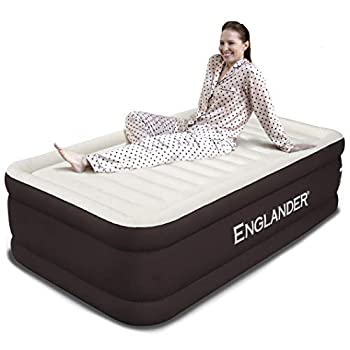 Englander Twin Size Air Mattress w/ Built in Pump - Luxury Double High Inflatable Bed for Home Travel & Camping - Premium Blow Up Bed for Kids & Adults - Brown