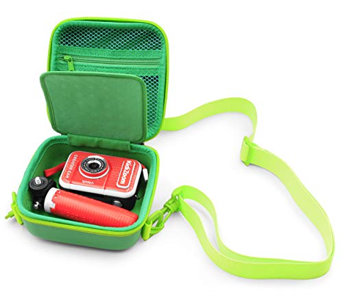 CASEMATIX Kiddie Case Compatible with VTech Kidizoom Creator Cam Kids Tote Bag Hd Video Camcorder and Tripod in Green Compact Travel Case with Green Shoulder Strap, Includes Case Only