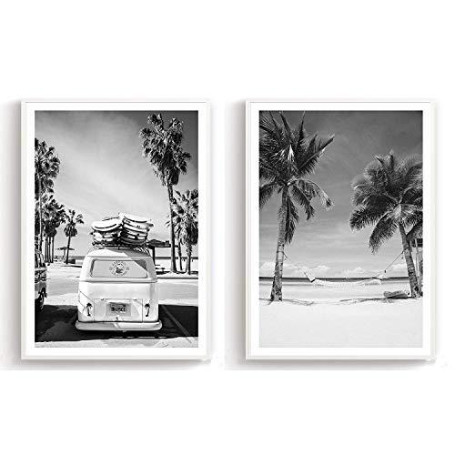 Flanacom Design Poster 2er Set A3 Schwarz Weiß - hochwertiger Kunstdruck auf Hochglanz Premiumpapier - Moderne Bilder/Deko Wohnung - Motiv Surfer Bus/Strand Palmen (27 x 42 cm) (ohne Rahmen)