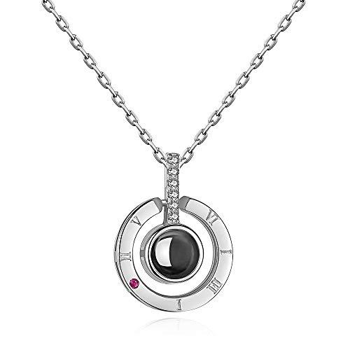 100 Sprachen Ich Liebe Dich Kette 925 Silber Halskette Anhänger Projektion Silberkette Damen Memory Love Kette Frauen Mädchen Silber