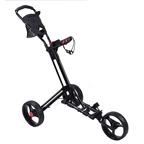 WFLJ Klappbar 3-Rad Trolly für Golfbag, Tragbar Pushtrolley Golftrolley, Faltbarer Schiebewagen mit Getränkehalter/Anzeigetafel/Regenschirmhalter/Fußbremse, Geeignet für Alle Arten von Golftaschen