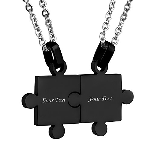 Custom Engraving Name/Date Stainless Steel Matching Jigsaw Puzzle Pendant Chain Necklace for Couple's Gift (Black)