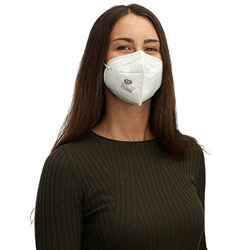 HJR FFP 2 Masken CE zertifiziert, 10 Stück Atemschutzmaske. Hoher Atemkomfort, dank gut anliegender Passform. Im Polybeutel, einzeln verpackt. Fühlen Sie sich im Alltag bestens geschützt.