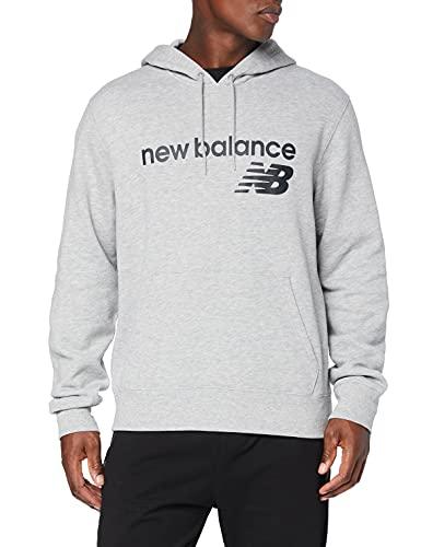 New Balance Sudadera con capucha para hombre Nb Classic Core de forro polar, Camiseta, MT03910, Gris atlético, XL
