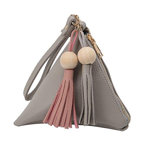 BallboU - Bolso de mano con forma de triángulo y borlas para mujer, Gris (Gris Claro), Medium