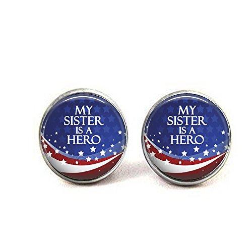"""stahpk Manschettenknöpfe, Manschettenknöpfe oder Manschettenknöpfe """"My Sister is a Hero"""", Patriotisch, Armee, Marine, Luftwaffe, Marine, Militär, Polizei, Feuer"""