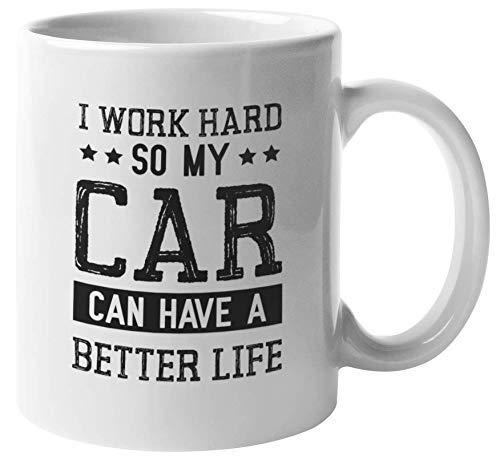 330ml Tazas de té Tazas para espresso Trabajo duro Mercancía Amante automóvil Dueño automóvil Taza bebida café Regalo Vajilla de Agua/Leche para Hogar,Oficina