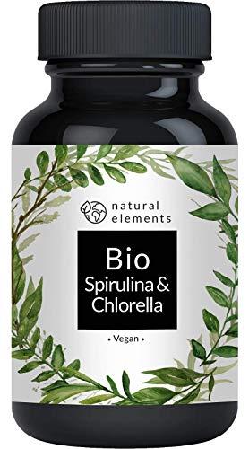 Bio Spirulina & Chlorella Presslinge - 500 Tabletten - Zertifiziert Bio, laborgeprüft, ohne Zusätze, hochdosiert, vegan
