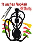 11' Premium 2 Hose Hookah -Pumpkin Hookah Glass Vase - with 5 Mouth Tips, and Tonge (Style 6, Black)